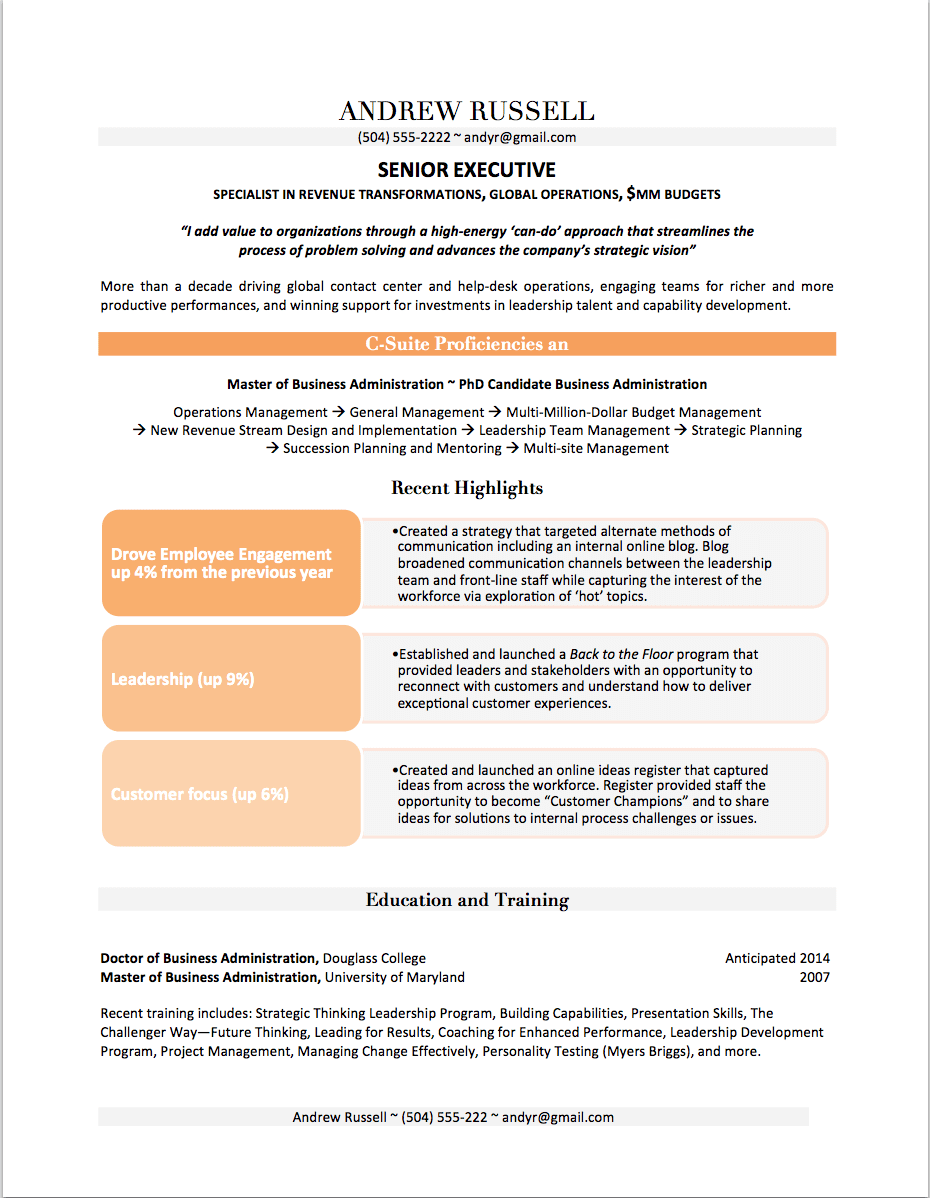 executive resume example - Senior Executive Resume Examples