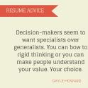 Specialist versus Generalist Resumes