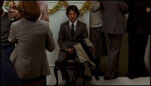 Dustin Hoffman waits at Christmas Party to get a job