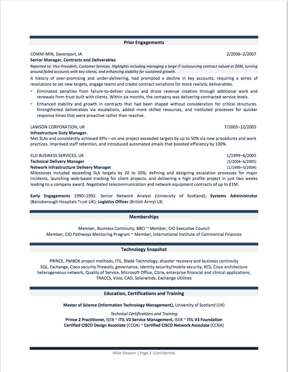 cio resume example - Sample Cio Resume