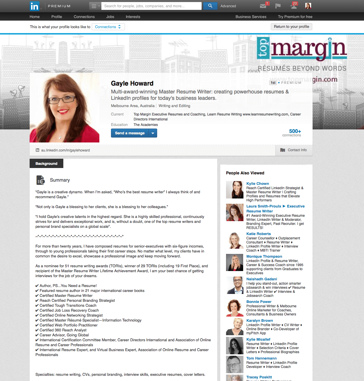 Linkedin profile page example